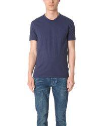 Calvin Klein Jeans | Blue Mixed Media V Neck Tee for Men | Lyst