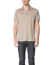 Vince - Natural Linen Short Sleeve Polo Shirt for Men - Lyst