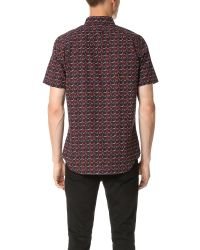 PS by Paul Smith - Blue Rose Print Short Sleeve Shirt for Men - Lyst