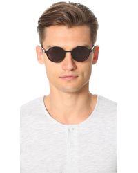 Han Kjobenhavn Black Binoculars Round Sunglasses for men