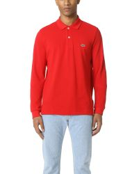 Lacoste | Red Long Sleeve Classic Polo Shirt for Men | Lyst