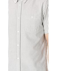 Norse Projects White Anton Striped Short Sleeve Oxford Shirt for men