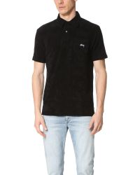 Stussy - Black Terry Polo for Men - Lyst