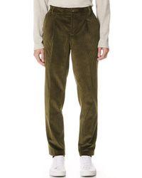 De Bonne Facture - Green One Pleat Cord Trousers for Men - Lyst