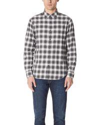Club Monaco Gray Slim Flannel Plaid Shirt for men