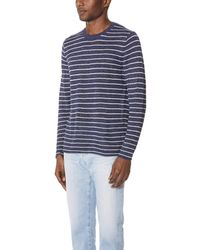 Vince - Blue Long Sleeve Striped Crewneck for Men - Lyst