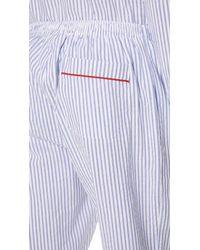 Sleepy Jones Blue Seersucker Striped Pj Bottoms for men