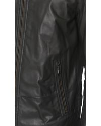 Vince Black Essential Moto Leather Jacket for men