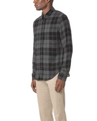 Vince - Black Two Tone Plaid Shirt for Men - Lyst