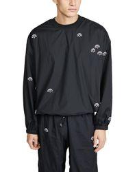Alexander Wang Black Allover Logo Nylon Crew Neck Pullover for men
