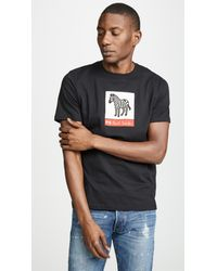 PS by Paul Smith Black Large Zebra Logo Tee for men