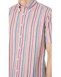 Gitman Brothers Vintage Multicolor Short Sleeve Stripe Shirt for men