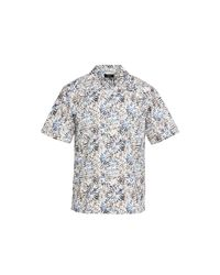 Theory Multicolor Weldon Sketched Floral Short Sleeve Shirt for men
