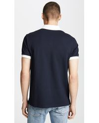 Club Monaco Blue Piped Shoulder Polo Shirt for men