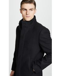Club Monaco - Black Funnel Neck Coat for Men - Lyst