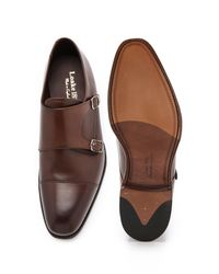 Loake Brown Cannon Monk Strap Shoes for men