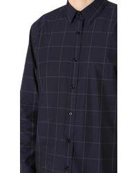 Theory Blue Plaid Shirt for men