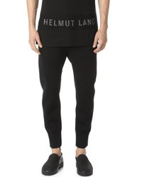 Helmut Lang Black Sponge Fleece Curved Leg Track Pants for men