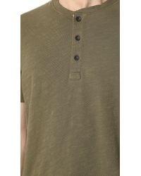 Rag & Bone Green Standard Issue Short Sleeve Henley for men
