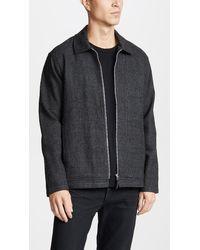 Tres Bien Gray Zip Blouson Wool Check for men