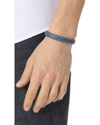 Chamula - Blue Wide Flat Woven Leather Bracelet for Men - Lyst