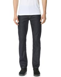 7 For All Mankind Blue Slimmy Stretch Slim Straight Jeans for men