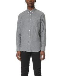 Rag & Bone Gray Standard Issue Lightweight Flannel Shirt for men