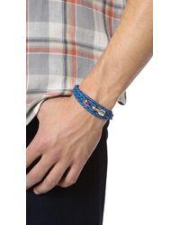 Miansai Blue Trice Woven Leather Wrap Bracelet for men