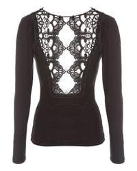 Jane Norman - Black Long Sleeve Brocade Cutout Top - Lyst