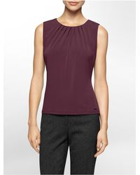 Calvin Klein | Purple White Label Pleated Scoopneck Sleeveless Top | Lyst