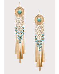 Bebe Blue Bead & Fringe Earrings