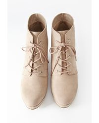 Forever 21 - Natural Faux Suede Wedge Booties (wide) - Lyst