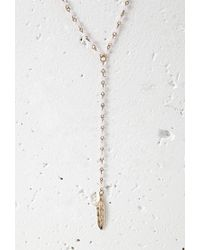 Forever 21 - Pink Longline Feather Charm Necklace - Lyst