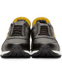 Fendi Black Leather Bugs Low-top Sneakers for men