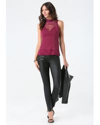 Bebe Purple Anna Lace Mock Neck Top