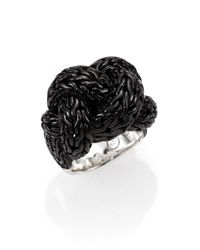 John Hardy | Classic Chain Blackened Sterling Silver Large Braided Ring for Men | Lyst