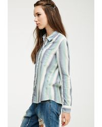 Forever 21 | Blue Multi-striped Flannel Shirt | Lyst