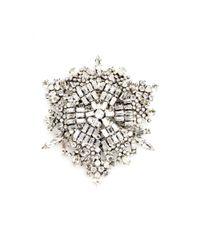 Saint Laurent Metallic Crystal Brooch