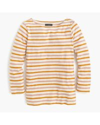 J.Crew | Orange Boatneck T-shirt In Multicolor Stripe | Lyst