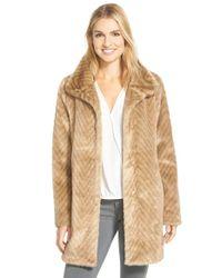 Ellen Tracy Natural Faux Fur A-line Coat