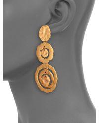 Oscar de la Renta - Metallic Circle Triple-Drop Earrings - Lyst