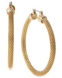 Kenneth Cole | Metallic Gold-tone Mesh Hoop Earrings | Lyst