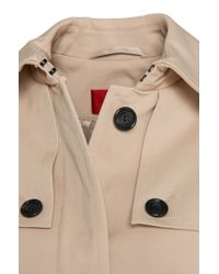HUGO - Natural Straight-fit Trench Coat In Cotton Blend: 'magitte-1' - Lyst