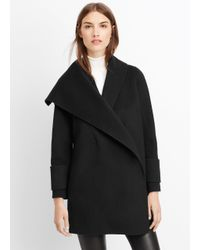 VINCE | Black Wool Drape Front Coat | Lyst