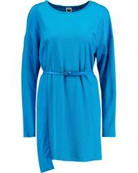 M Missoni Blue Belted Silk-paneled Stretch-knit Dress