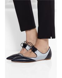 Tabitha Simmons - Blue Bibi Leather And Silk-Twill Pointed-Toe Flats - Lyst