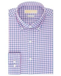 Michael Kors - Michael Non-Iron Pink And Blue Check Dress Shirt for Men - Lyst