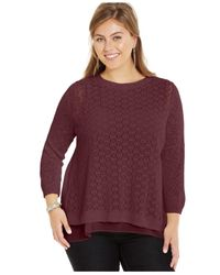 Lucky Brand | Purple Lucky Brand Plus Size Layered-look Split-back Sweater | Lyst
