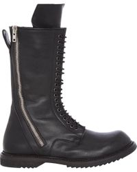 Rick Owens Black Double-Zip Combat Boots for men