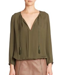 Joie | Green Jancinta Silk Peasant Top | Lyst